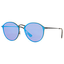 Buy Ray-Ban RB3574N Round Sunglasses, Turquoise/Lilac Online at johnlewis.com