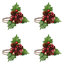 Buy John Lewis Holly Berry Napkin Rings, Set of 4 Online at johnlewis.com