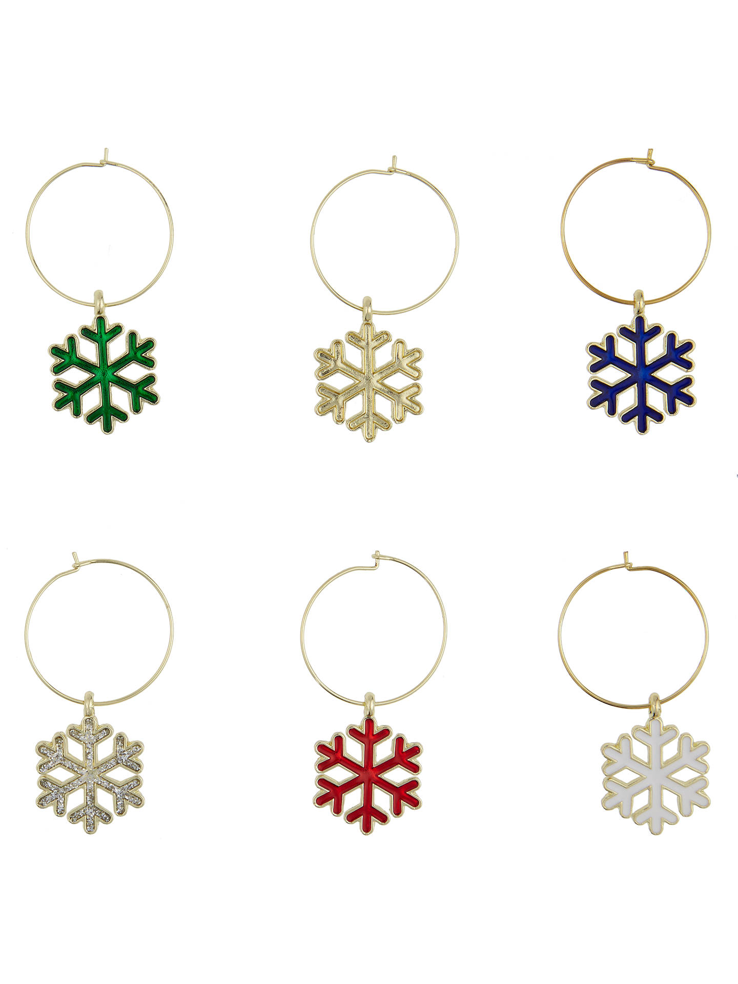 buyhouse by john snowflake christmas wine charms assorted pack of 6 online at johnlewis - Christmas Wine Charms