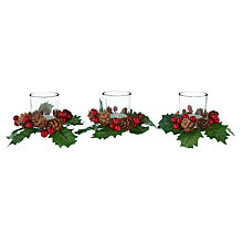 Buy John Lewis Holly Berry Tealight Holders, Set of 3 Online at johnlewis.com