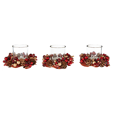 John Lewis Christmas Berries and Acorns Votive Candle Holders, Set of 3