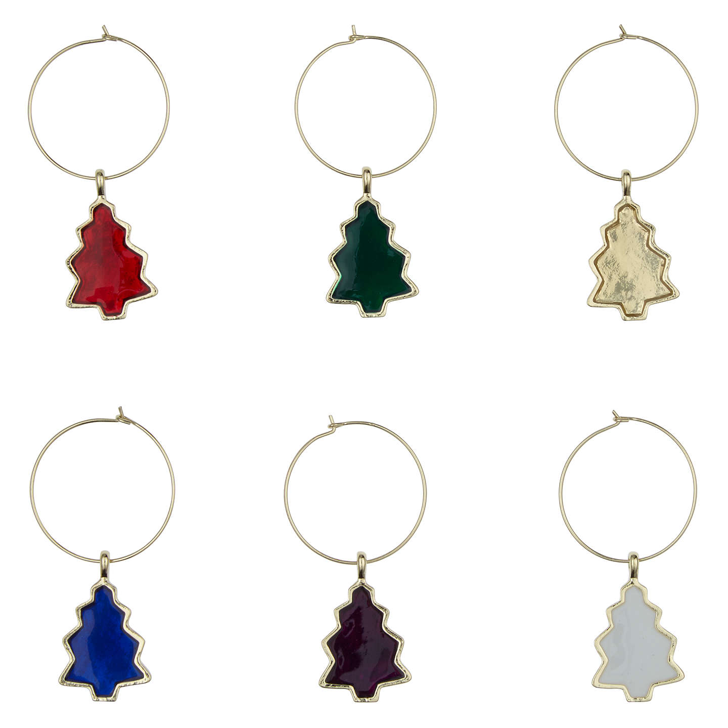 Buyhouse By John Lewis Christmas Tree Wine Charms, Assorted, Pack
