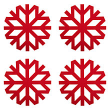 Buy John Lewis Snowflake Placemats, Red, Set of 4 Online at johnlewis.com