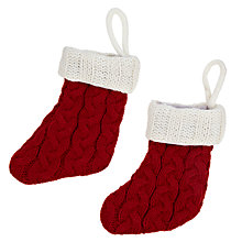 Buy John Lewis Christmas Cutlery Knitted Stockings, Red/White, Set of 2 Online at johnlewis.com