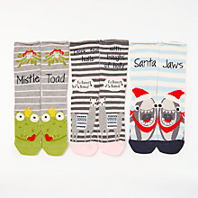 Buy John Lewis Animal Christmas Puns Ankle Socks, Pack of 3, Multi Online at johnlewis.com