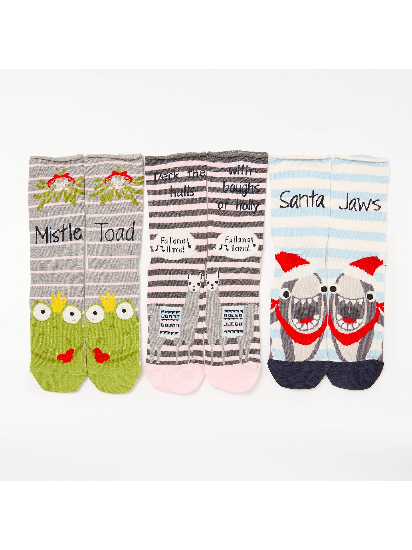 John Lewis Animal Christmas Puns Ankle Socks Pack Of 3 Multi At