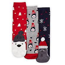 Buy John Lewis Winter Animals Novelty Ankle Socks, Pack of 3, Multi Online at johnlewis.com