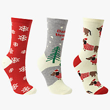 Buy John Lewis Christmas Dashchund Ankle Socks, Pack of 3, Multi Online at johnlewis.com