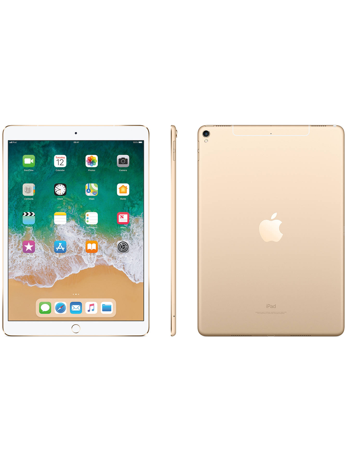 "Buy2017 Apple iPad Pro 10.5"", A10X Fusion, iOS11, Wi-Fi & Cellular, 64GB, Gold Online at johnlewis.com"