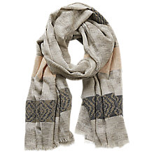 Buy Betty & Co. Long Striped Scarf, Khaki/Grey Online at johnlewis.com
