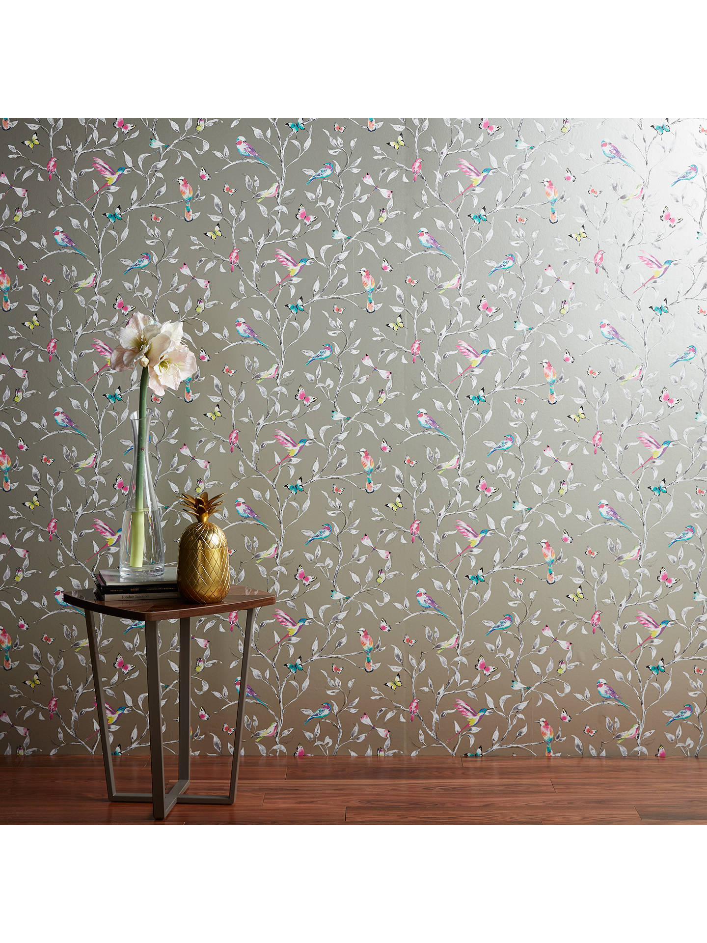 Buy John Lewis & Partners Hummingbird Trees Wallpaper, Champagne Online at johnlewis.com