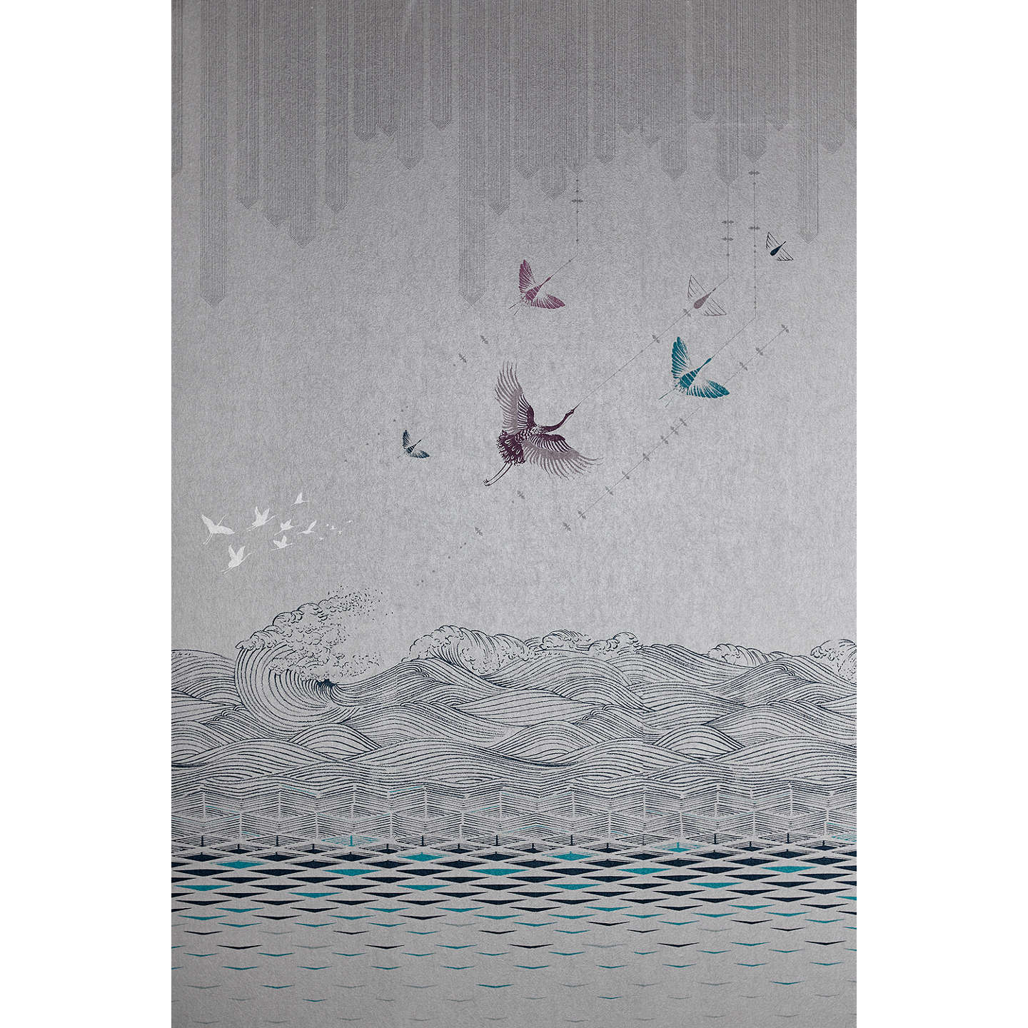 BuyV&A and John Lewis Kaiyo Wallpaper Panel Set, Grey / Multi Online at johnlewis.com