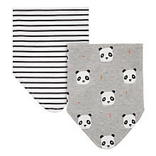 Buy John Lewis Baby Panda Dribble Bib, Pack of 2, Grey Online at johnlewis.com