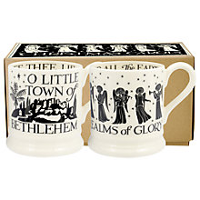Buy Emma Bridgewater Christmas Carols Half Pint Mugs, Black/White, 310ml, Set of 2 Online at johnlewis.com