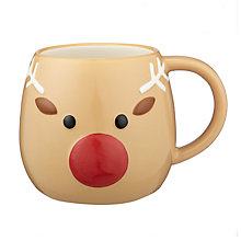 Buy John Lewis Christmas Reindeer 3D Mug, 450ml Online at johnlewis.com