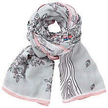 Buy John Lewis Tree Bird Cluster Cotton Scarf, Grey/Multi Online at johnlewis.com