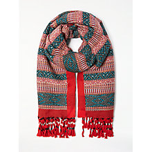 Buy AND/OR Folkloric Jacquard Scarf, Red/Multi Online at johnlewis.com