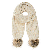 Buy John Lewis Children's Cable Knit Scarf, Natural Online at johnlewis.com