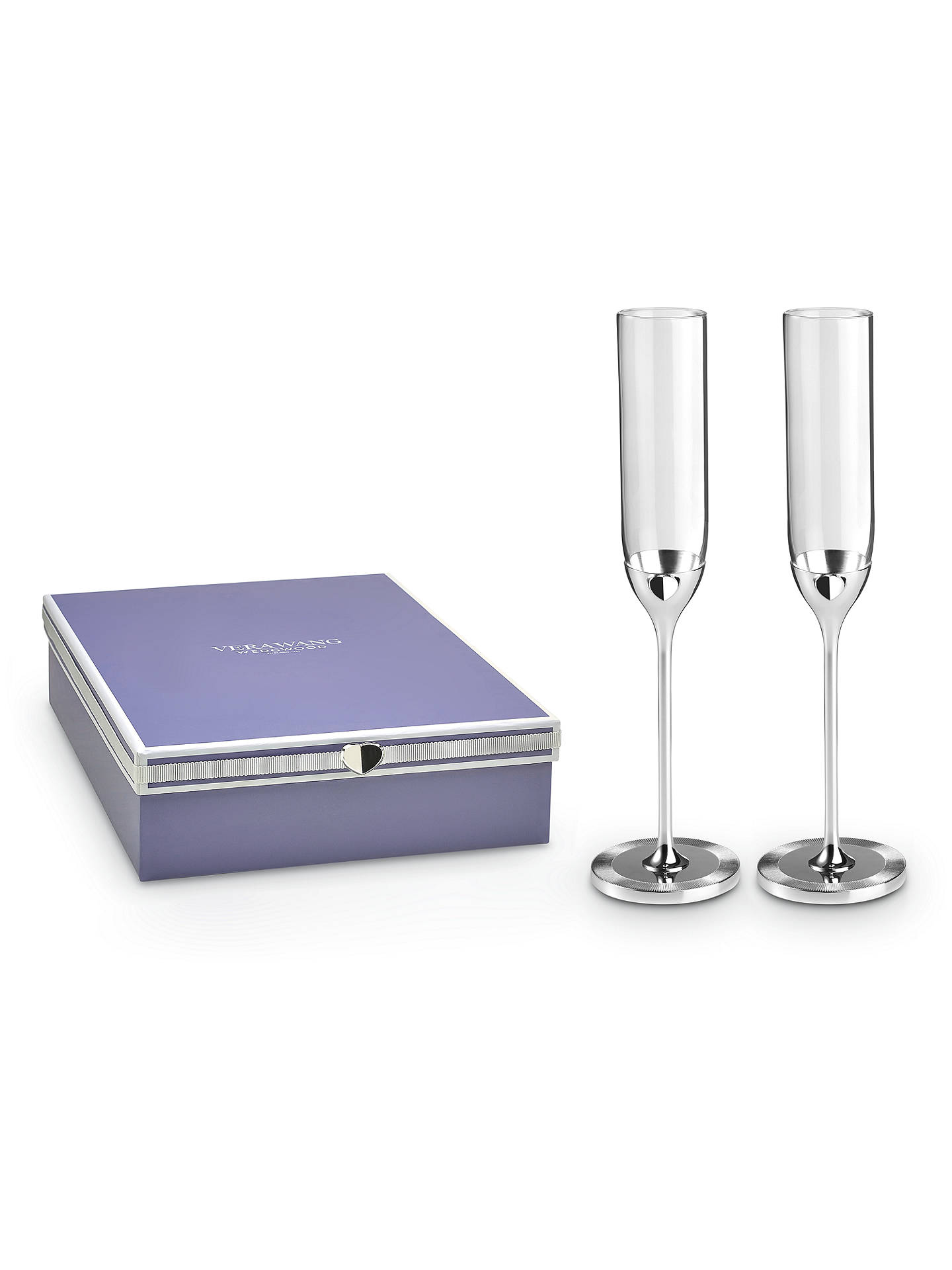 Buy Vera Wang for Wedgwood Love Always Toasting Flutes, Silver Online at johnlewis.com
