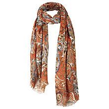 Buy Fat Face Paisley Print Scarf, Cinnamon/Multi Online at johnlewis.com