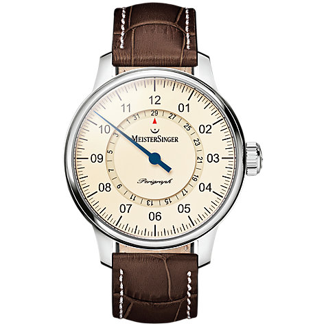 automatic or self winding men s watches john lewis buy meistersinger am1003 men s perigraph day automatic leather strap watch brown cream online at