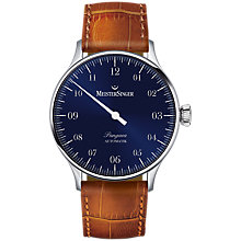 Buy MeisterSinger PM908 Unisex Pangaea Automatic Leather Strap Watch, Cognac/Sunburst Blue Online at johnlewis.com