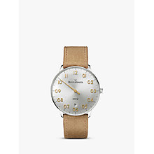 Buy MeisterSinger NQ901GN Women's Neo Q Date Leather Strap Watch, Cognac/Silver Online at johnlewis.com
