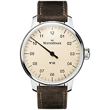 Buy MeisterSinger AM3303 Men's No. 01 Automatic Leather Strap Watch, Brown/Cream Online at johnlewis.com