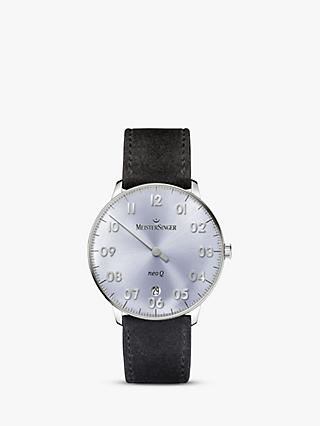 MeisterSinger NQ908N Women's Neo Q Date Leather Strap Watch, Black/Silver