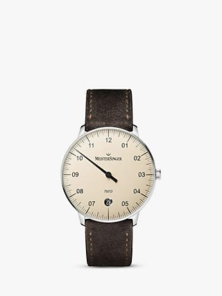 MeisterSinger NE903N Unisex Neo Date Automatic Leather Strap Watch, Brown/Cream