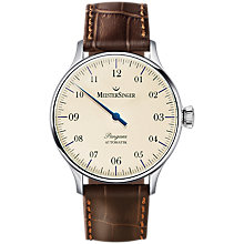 Buy MeisterSinger PM903 Unisex Pangaea Automatic Leather Strap Watch, Brown/Cream Online at johnlewis.com