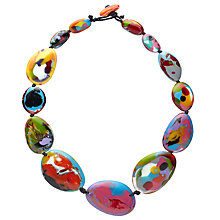 Buy Jackie Brazil Kandinsky Long Flat Resin Riverstone Necklace, Multi Online at johnlewis.com