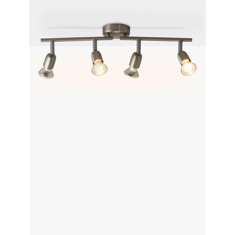 John Lewis The Basics 4 Spotlight Ceiling Bar, Brushed