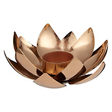 Buy John Lewis Fusion Metal Lotus Tealight Holder, Copper Online at johnlewis.com