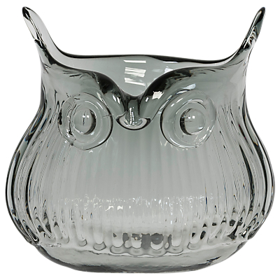 Magpie Horatio Owl Pot Vase, Smoke