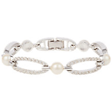 Buy Susan Caplan Vintage 1980s Nina Ricci Silver Plated Faux Pearl and Swarovski Crystal Bracelet, Silver Online at johnlewis.com