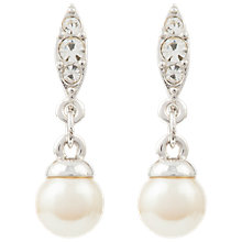 Buy Susan Caplan Vintage 1980s Nina Ricci Silver Plated Faux Pearl Swarovski Crystal Drop Earrings, Silver/White Online at johnlewis.com