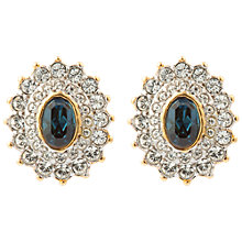 Buy Susan Caplan Vintage 1980s 22ct Gold Plated Faux Sapphire and Swarovski Crystal Oval Stud Earrings, Clear/Blue Online at johnlewis.com