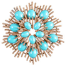 Buy Susan Caplan Vintage Avon Gold Plated Faux Turquoise Sunburst Brooch, Gold/Blue Online at johnlewis.com