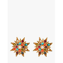Buy Susan Caplan Vintage 1980s D'Orlan 22ct Gold Plated Swarovski Crystal Clip-On Star Earrings, Gold/Multi Online at johnlewis.com