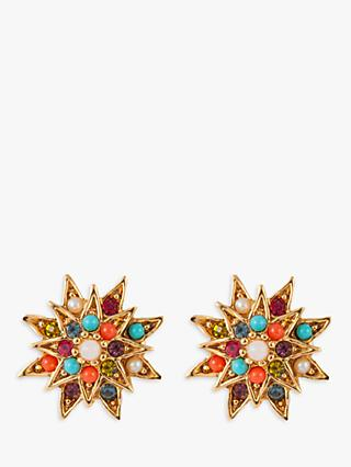 Susan Caplan Vintage 1980s D'Orlan 22ct Gold Plated Swarovski Crystal Clip-On Star Earrings, Gold/Multi