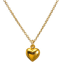 Buy Dogeared 14ct Gold Plated Sterling Silver Love Puffy Heart Pendant Necklace, Gold Online at johnlewis.com