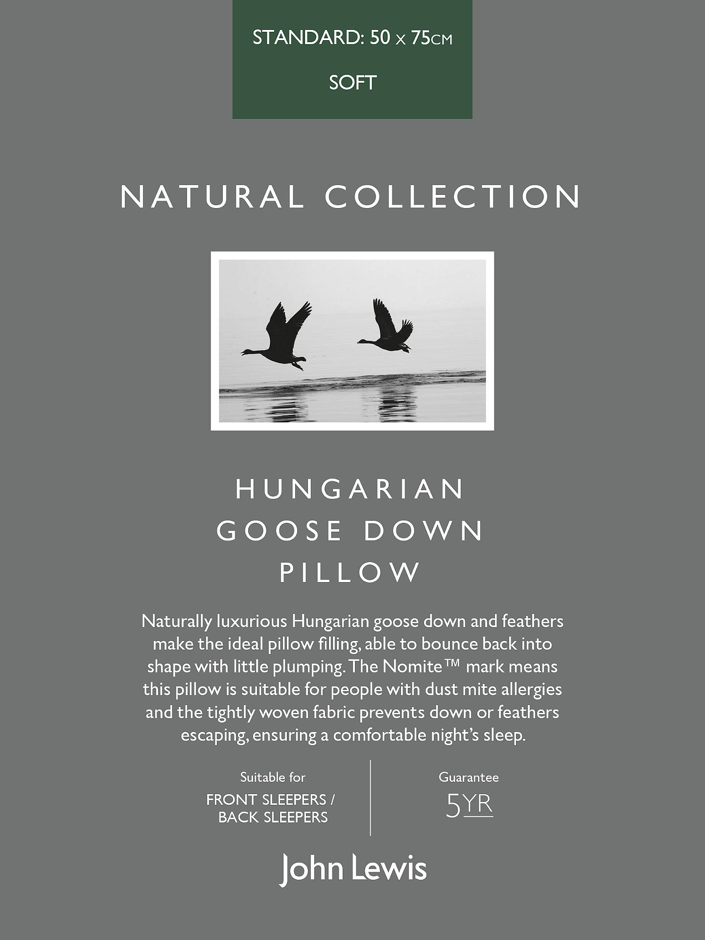 BuyJohn Lewis & Partners Natural Collection Hungarian Goose Down Standard Pillow, Soft Online at johnlewis.com