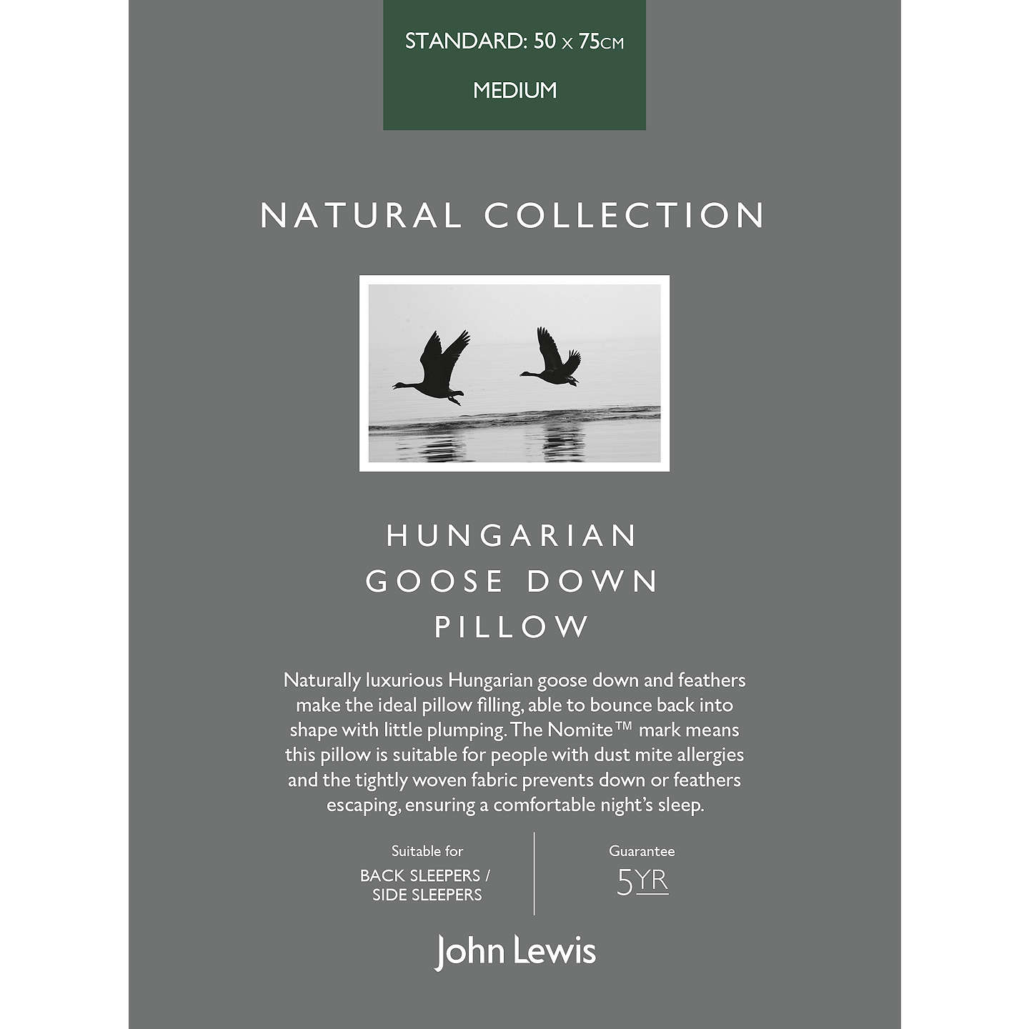 BuyJohn Lewis Natural Collection Hungarian Goose Down Standard Pillow, Medium Online at johnlewis.com