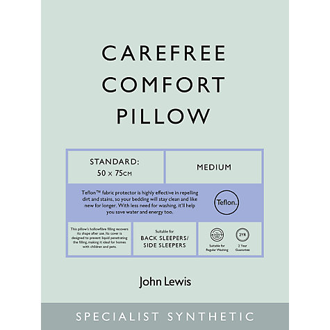 Buy John Lewis Specialist Synthetic Carefree Comfort Teflon Standard Pillow, Medium Online at johnlewis.com
