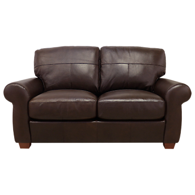 John Lewis Hampstead Medium 2 Seater Leather Sofa, Dark Leg, Primo Chestnut