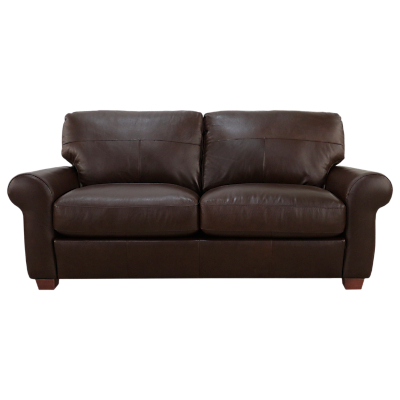 John Lewis Hampstead Large 3 Seater Leather Sofa, Dark Leg, Primo Chestnut