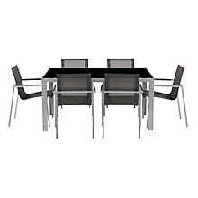 Buy House by John Lewis Manhattan 6-Seater Dining Table + 6 Dining Chairs, Dark Grey Online at johnlewis.com