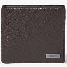 Buy HUGO by Hugo Boss Element Grained Leather Coin Wallet, Dark Brown Online at johnlewis.com