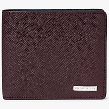 Buy BOSS Signature 8 Card Textured Leather Wallet, Burgundy Online at johnlewis.com